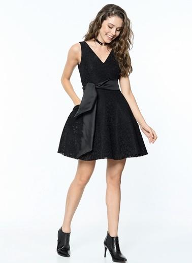 Dantel Detaylı Kloş Elbise-Koton